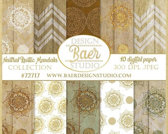 Copper Mandala Digital Paper, Digital Paper Pack, Gold and White Mandala Digital Paper, Wood Digital Paper, Shabby Chic Digital Paper, 72717