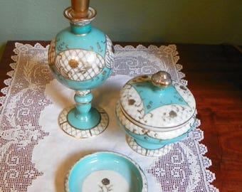 Vintage  Dresser SET BOTTLES Perfumes Tiffany Blue Porcelain Lotion Cologne Bath Salts powder box pin tray