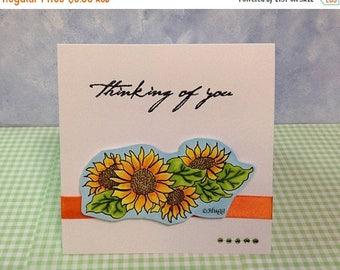Sunflowers Thinking of You Card OOAK Handmade Card