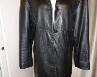 "Vintage JONES NEW YORK Brand Beautiful Black Leather Coat, A  Size L Female Full Length Coat in  Good ""Vintage"" Condition sold ""As Is"""