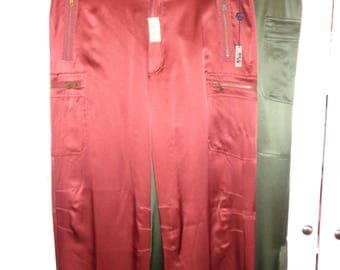 2 Vintage Silk Paratrooper Pants, 100% Silk Pants in Mint Condition with many zippered compartments and pockets, Size 10, in Siena and Olive