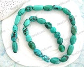1 Strand ~ Turquoise Beads, 8 to 18mm Genuine Chinese Turquoise Beads, Semi Precious Stone Beads, Real Turquoise Beads SP-365-9