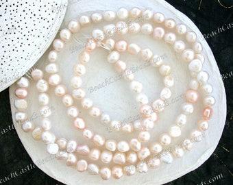 2 Strands ~ Sale Beads, Destash Beads, Fresh Water Pearls, Cream White Light Pastel Peach Potato Fresh Water Pearls Destash Supplies DS-940