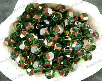Sale Closeout 100+ Destash Beads 9mm Emerald Green and Gold Plated Glass Beads, Hand Table Cut Beads, Destash Supplies Sale-007