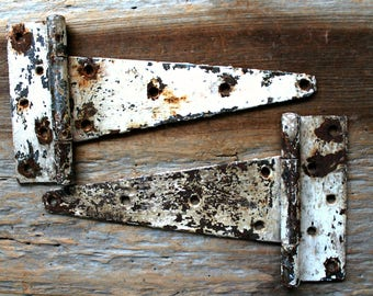 vintage shabby white iron strap hinge pair, architectural salvage, salvaged hardware, worn chippy paint, rustic decor, worn chippy paint