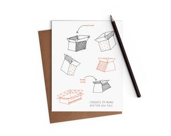 Housewarming - Moving Boxes - Funny Card - Digitally Printed A2 Cards w/ envelope