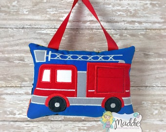 Personalized Boys Tooth Fairy Pillow Embroidered, Keepsake Tooth Fairy Pillow, Fire Truck Tooth Fairy Pillow, Hero, Future Fireman