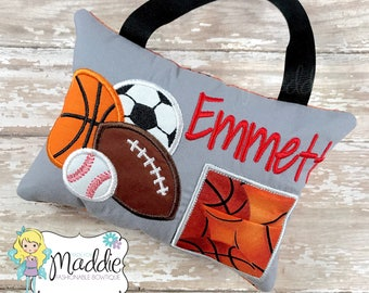 Boys Tooth Fairy Pillow, Embroidered, Sports Tooth Fairy Pillow, Keepsake Pillow, Soccer, Football, Baseball, Basketball, Tooth Fairy Pillow