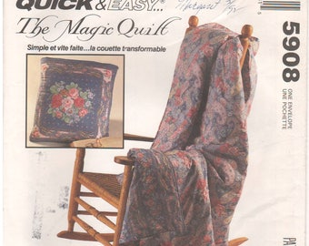 1992 - McCalls 5908 Vintage Sewing Pattern Crafts The Magic Quilt Quick Easy Blanket Tote Gift Home Decor Picnic Tailgate Uncut