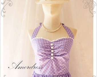 Mid Year SALE Purple Bridesmaid Dress Vintage Inspired Dress Halter Neck  Summer Dress Purple Polka Dot  Once Upon a Time - Size XS
