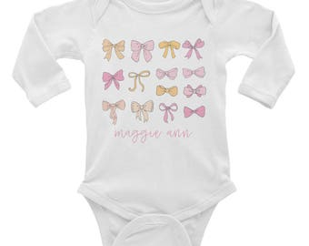 Personalized Baby Bow Onesie