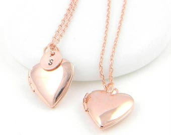 Rose Gold Initial Heart Personalized Locket