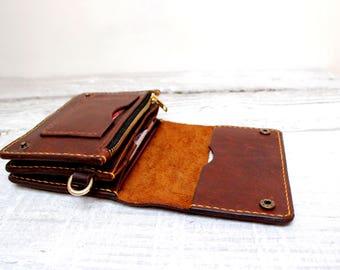 Brown leather passport wallet, family passport holder, vintage travel wallet, passport case, family passport holder