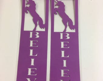 Purple Unicorn BELIEVE Bookmark