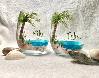 Free shipping Beach theme palm tree pair of stemless hand painted wine glasses personalized
