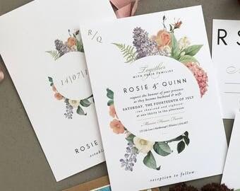 BOTANICAL FLORA   Rustic Wedding Invitations, Wedding Invites, Wedding Invite, Blush and Rose Wedding Invitation Rustic - Sample Set