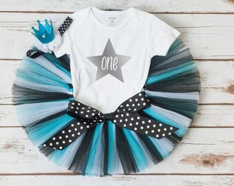 """Turquoise and black birthday outfit """"Paige"""" turquoise tutu set star birthday cake smash outfit rock star birthday girl outfit 1st birthday"""