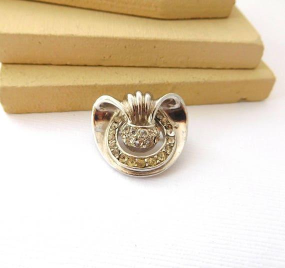 Vintage 1930s Art Deco Small Silver Tone Rhinestone Brooch Pin DD11