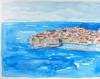 Dubrovnik Croatia, Pearl of the Adriatic Sea - Limited Edition Fine Art Print - Original Painting available