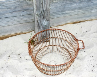 Vintage  clam basket  Cape Cod shell fish basket rusted metal basket home decor beach decor rustic