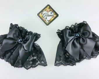 Black Lace Wrist Cuff-Lolita Wrist Cuff-Wrist Cuff-Classic Lolita-Goth Lolita-Lolita-Goth-Gift For Her-Harajuku-Hime-Black Lace-Black-Gothic