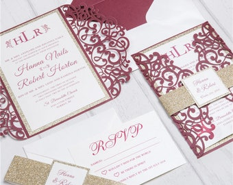 Invitation kit etsy diy invitation kit burgundy and gold glitter laser cut invites for wedding quince solutioingenieria Gallery