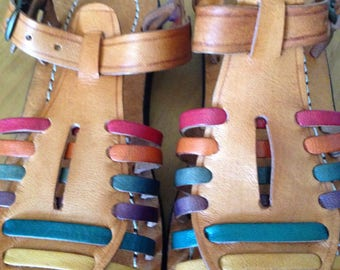 Vintage unused handmade handcrated colors leather huarache gladiator fisherman cangrejeras girls women sandals