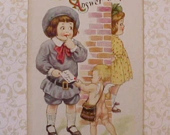 Darling Edwardian Era Postcard- Boy Delivering Love Note Via, Cupid