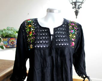 Embroidered mexican top,cotton gauze,  black blouse,Floral Embroidery,Crochet, tassel.Boho shirt,bohemian Tunic,ethnic, hippie chic,Women.