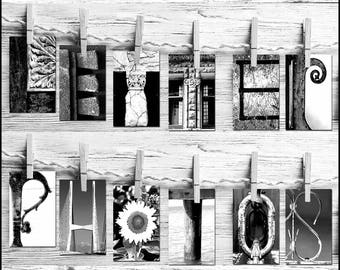 Name Art * Letter Art * 4x6 Letter Photos * Free Shipping * FREE Proof Before Purchase * Themes * Individual Letters * DIY Project Name Art