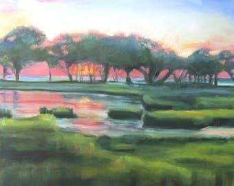 Original Oil Painting: Sunset in Kiawah Island Marsh