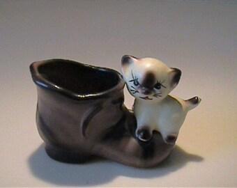 Vintage 1960's ceramic Siamese kitten on brown boot toothpick holder - Enesco