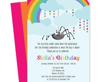 Itsy Bitsy Spider Party Birthday Party Invitations for Girls - Colorful - Rainbow - Stripes - Printable or Printing Custom for You