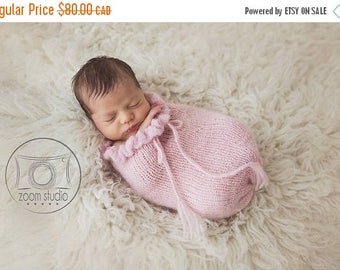 Happy Birthday sale newborn knit pod, photo props with ruffles, pink  POD ONLY