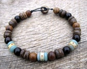 Mens surfer bracelet, vintage bone, blue jasper, wood and coconut shell beads, handmade, on strong cord, mens beaded jewelry, one of a kind