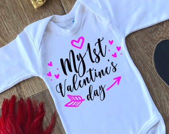First Valentines Day Outfit,My 1st Valentine Onepiece,Mommy's Valentine Outfit,Valentine Bodysuit,Valentines Onesie,Valentines Outfit