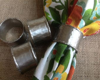 FREE SHIPPING Fabulous rustic Pewter Look Metal Napkin Rings with Welding bits on Edges  Set of 4