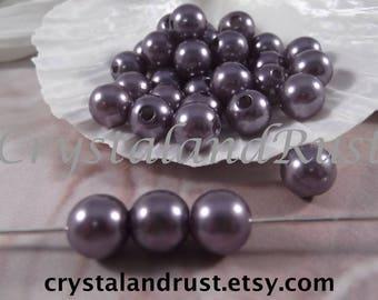 10mm --- Gunmetal Color Faux Loose Pearls --- 50 pieces