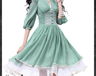 Women's Spring Slim Cut Delicate Lace Embroidery Three Quarter Sleeve Stand Collar Cinched Waist Swing Hem Dress