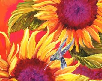 Hummingbird print,Sunflower prints, Hummingbird art, Sunflower decor, Hummingbird decor, sunflower prints, sunflower canvas, sunflower art