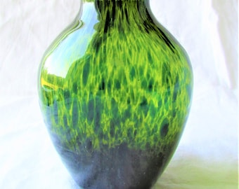 Green Glass Vase, Hand Crafted