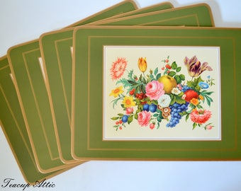 Set of 4 Pimpernel Place Mats in Original Box, Four Traditional Place Mats Meisen Fruit & Flowers Pattern, Hostess Gift,  ca. 1950
