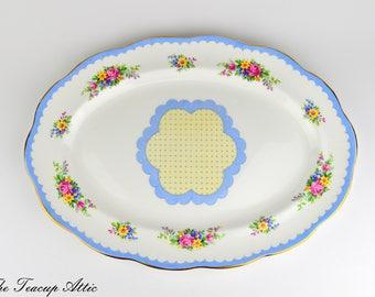 Royal Albert Crown China Blue Prudence 13.5 Inch Oval Platter, English Bone China Replacement Platter, ca. 1935