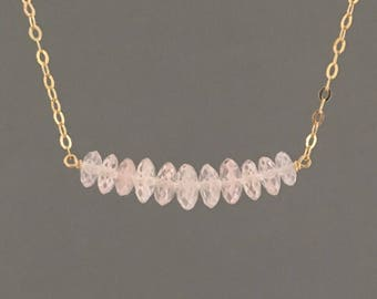 Graduated Rose Quartz Gold Necklace Also Available in Rose Gold and Sterling Silver