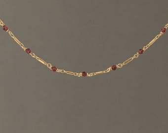 Garnet Gold Bar Choker Necklace also in Sterling Silver