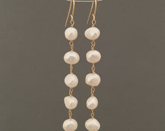 FIVE Pearl Drop Earrings in Gold Fill, Rose Gold Fill, or Silver