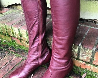 Genuine 1970's Vintage Oxblood Leather Go Go Boots size 8 7.5