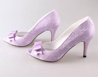 Custom Lace Open Toes Platform Heels, Bridal heels, Wedding shoes, Prom, Evening shoes, Blue Shoes, Rhinestone shoes