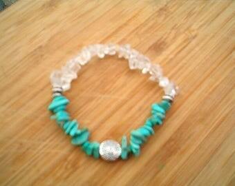 TURQUOISE & Clear Quartz  Gemstone Bracelet, Fancy,  Beaded, Stretch,  Stacking, Stunning Bracelet, Beach, SW, Enhanced Turquoise