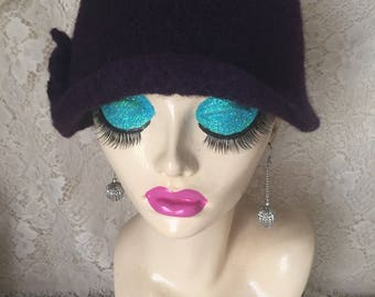 Dark Eggplant Purple Vintage Inspired Crocheted Felted Cloche Flapper Hat 'Carrie Bell'